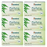 Himalaya Purifying Neem & Turmeric Cleansing Bar, Face and Body Soap for Soft, Clear & Acne Free Skin, 4.41 oz, 6 Pack