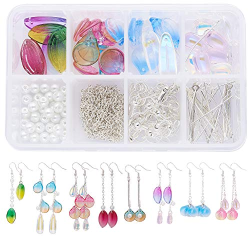 SUNNYCLUE 1 Box DIY 8 Pairs Petal Earrings Flower Dangle Earring Making Kits with Glass Pearl Beads Supplies for Women Girls Beginners, Silver