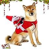 WELLXUNK® Traje de Perro Santa, Disfraz De Navidad para Mascotas, Traje de Perro Santa, Ropa para Perros Cosplay Ajustables Disfraz Gato Adecuado para Navidad,Fiesta,Cumpleaños,etc (S)