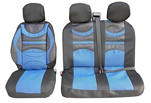 flexzon UNIVERSAL 2+1 CUSHION PREMIUM COMFORT PADDED FABRIC BLUE BLACK SEAT COVERS FOR VAN TRUCK BUS