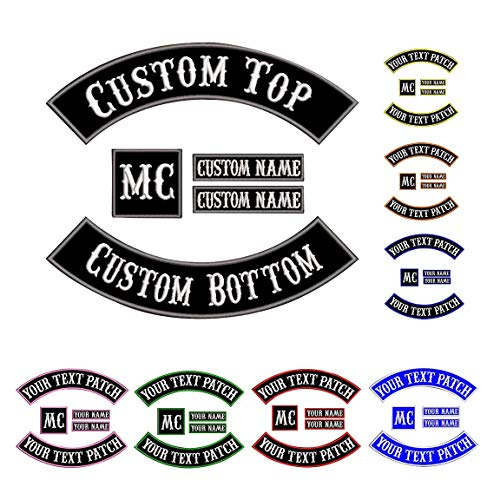 Custom Patch chaleco de motociclista, parches con nombre para chaquetas Gray on black1