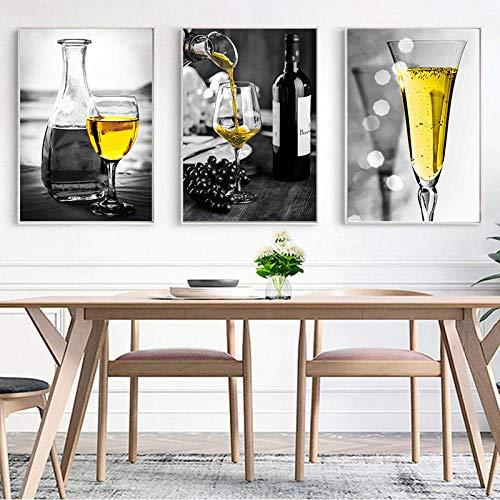 YWCMDH Imagen de champán Amarillo decoración del hogar Lienzo nórdico Pintura de Arte de Pared impresión de Copa de Vino Cartel Pintura artística para Cocina Sala de Estar 40x60cmx3 sin Marco