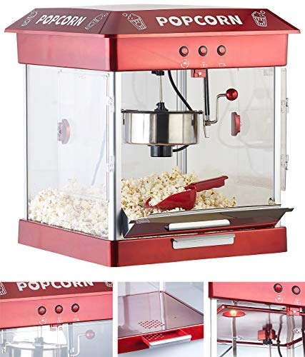 Rosenstein & Söhne Popcorn Maker: Profi-Gastro-Popcorn-Maschine mit Edelstahl-Topf, 800 Watt (Retro-Popcorn-Maschine)