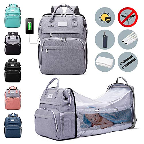 6-in-1 Diaper Bag Backpack with Changing Station - Large Capacity Durable Waterproof Bag - Foldable Bassinet with Mosquito Net Sunshade, Insulated Pockets, Built-in USB & Stroller Straps