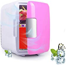 RAINBEAN Home & Car Dual Uses Mini Portable Compact Personal Fridge Electric Cooler & Warmer,AC/DC Powered Thermoelectric System,Used to Store Masks/Medical Supplies/Cosmetic/Water/Beer/Beverage-Pink