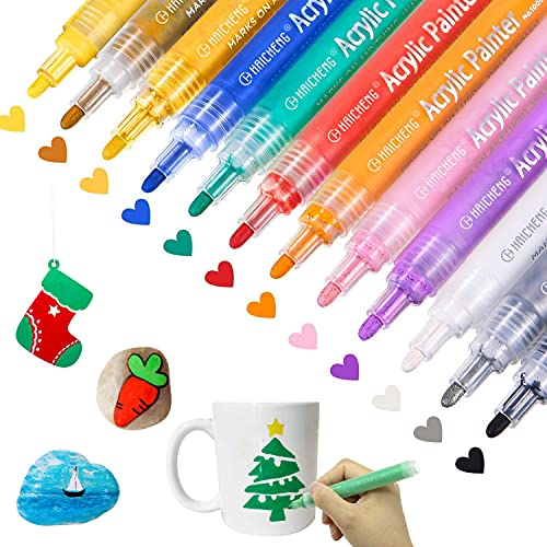 12 Colors Acrylic Paint Markers Paint Pens for Rocks, Wood, Metal, Glass,...