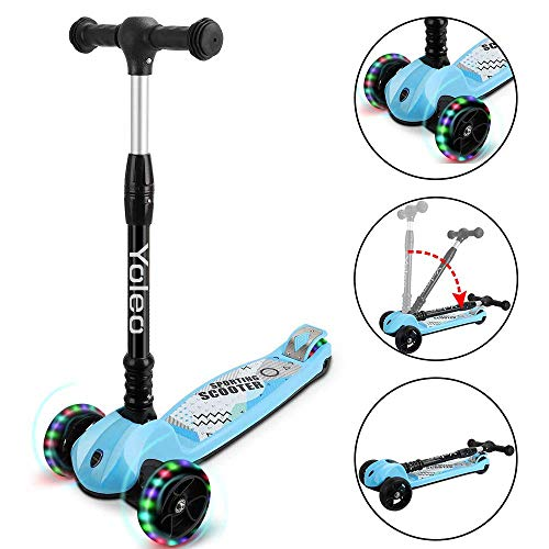 TONBUX Toddler Scooter, 3 Wheel Scooter for Kid with Adjustable Height, PU Flashing Wheels for Age 2 to 10 Years Old Girls Boys Kids - Blue