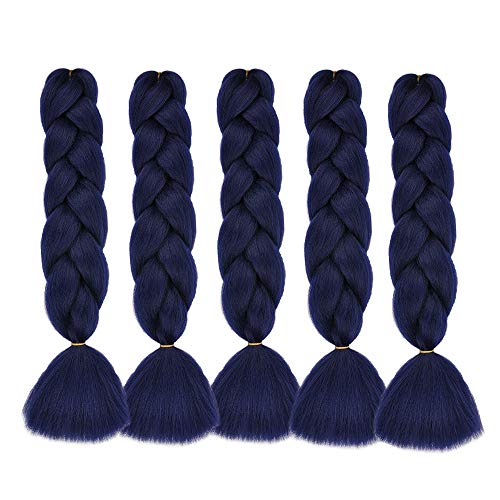 Natural Beauty 24 Inch Jumbo Braiding Hair Synthetic Hair Twist Braiding Hair Extensions Crochet Hair Box Braids for Women (5 Bundles, Dark Blue)