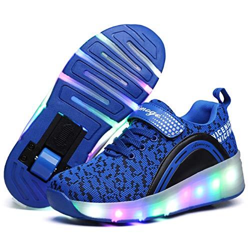 LED Iluminado Zapatillas con Ruedas Zapatillas Deportivas LED para Niños Niña Niño LED Luces Skate Roller Zapatos, Automáticamente Retráctiles Zapatos de Roller Patines Deportes Parpadeantes Moda Z