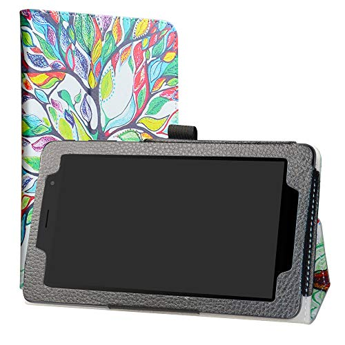 Alcatel 1T 7 Inch Funda,LiuShan Folio Soporte PU Cuero con Funda Caso para 7' Alcatel 1T 7 Inch 8068(Not fit Alcatel 1T 8082 10inch) Android Tablet,Love Tree