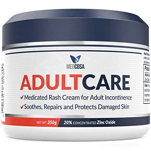 Medcosa Adult Rash Cream – Fast Relief from Sweat Rash, Heat Rash & Adult Diaper Rash (Incontinence Cream) – Thick Moisturizing Barrier Cream. Zinc Oxide to Reduce Redness & Irritation (350g)