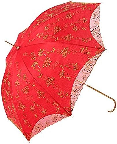 YFF@ILU La rouille Double cadeau d'amoureux de dépenser de l'argent mariage mariage parapluie rouge dentelle barre droite parapluie Parapluie parapluie rouge à tige longue mariée parapluie,
