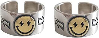 Fuqimanman2020 2pcs Smiley Face Ring Wide Chunky Adjustable Vintage Silver Smiling Open Ring for Women Men