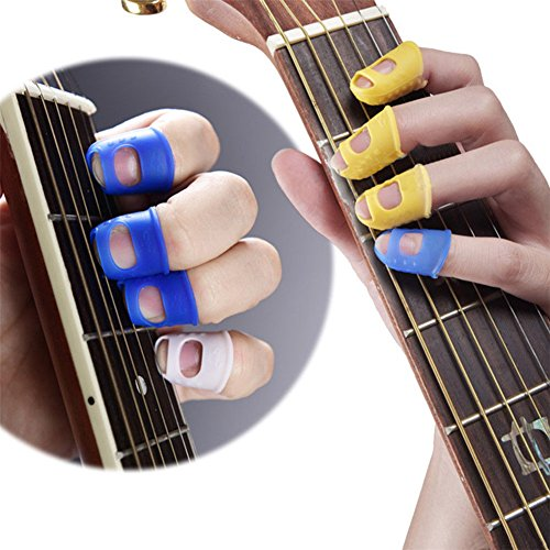 Malayas 4 Unidades Protector de Dedos para Guitarra Eléctrica Acustica Clásica Bajo Ukulele Protectores Profesionales de Silicona para Instrumentos Musicales de Cuerda Color al Azar
