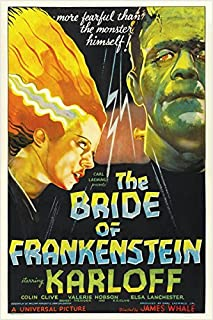 bride of FRANKENSTEIN campy classic MOVIE POSTER boris KARLOFF 24X36 bold (reproduction, not an original)