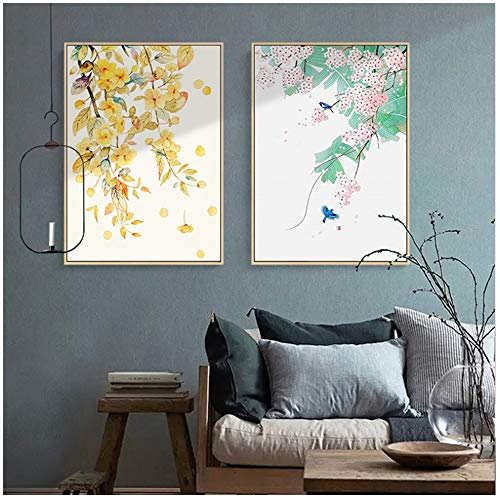 NIEMENGZHEN Print on Canvas Modern Autumn Leaves Plant Canvas Painting Flower Trees Watercolor Posters and Prints Wall Art Pictures-50x70cm No Frame