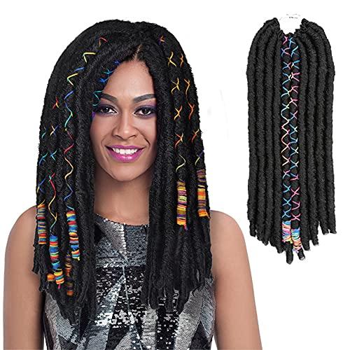 6 Packs Straight Faux Locs Crochet Hair...
