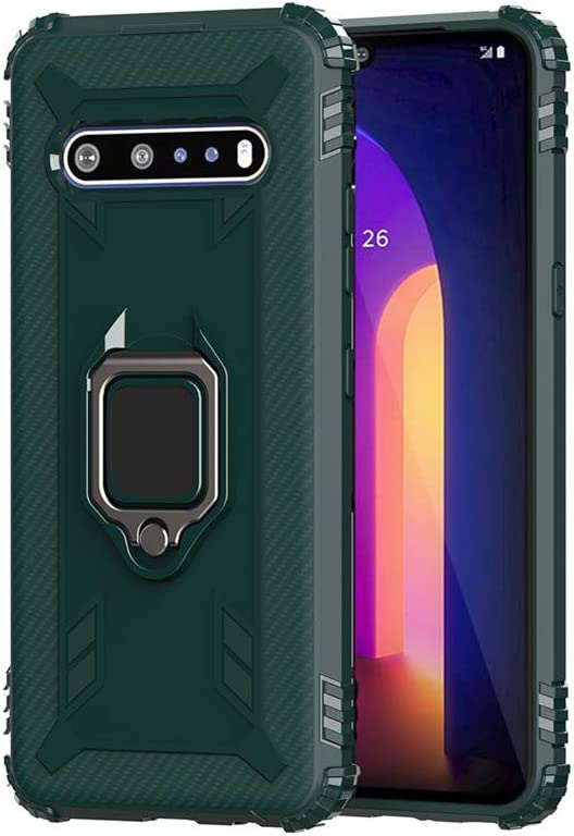 Bereajoy for LG V60 ThinQ Case, Soft TPU Rubber Drop Resistance Protective Shell Mobile Phone car Bracket case for LG V60 ThinQ Case (Army Green)