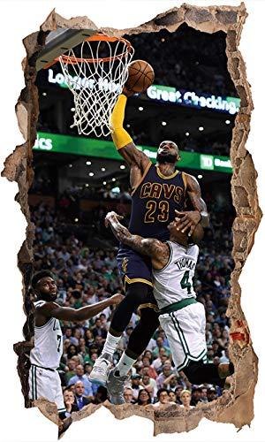 Nensuo 3D NBA Kobe Bryant Wallpaper Baloncesto Jugador Pegatinas de Pared Decoración para el hogar Fan Regalos Niño Habitación Pegatina Vinilo Verruga Calcomanía de Pared 80 * 120CM-D_40*60CM