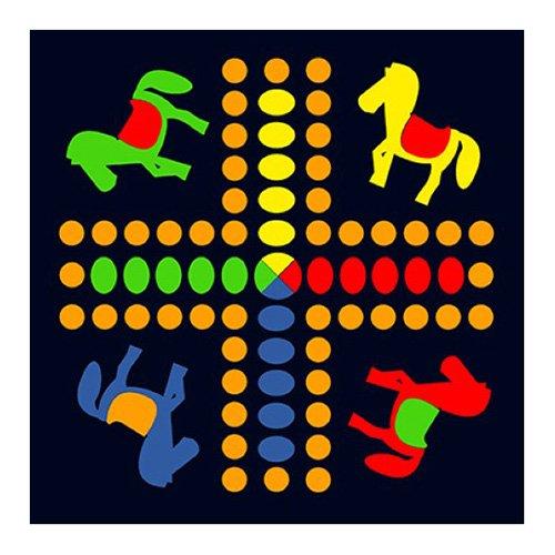 House of Kids 12110-e3 spel van paarden polyester meerkleurig 100 x 0,5 x 100 cm