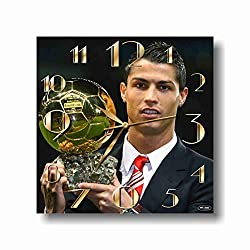 ART TIME PRODUCTION Cristiano Ronaldo 11'' Handmade Wall Clock - Get Unique décor for Home or Office – Best Gift Ideas for Kids, Friends, Parents and Your Soul Mates