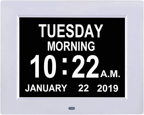 TMC Newest Version Digital Calendar Day Clock Extra Large Impaired Vision Memory Loss Clock With 12 Alarm Options For Seniors Elderly Dementia Alzheimer 8 Inch White