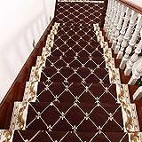 Insun Tappeti per Scale Antiscivolo Lavabile Tappeto Autoadesivo in Polipropilene Copri Gradini per Scale Interne caffè 1 26x75cm Set da 7