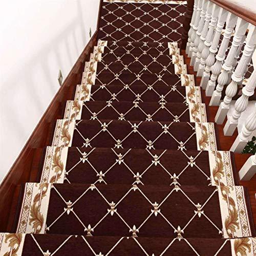 Insun Tappeti per scale Antiscivolo Lavabile Tappeto Autoadesivo in Polipropilene Copri Gradini per Scale Interne caffè 1 30x100cm Set da 5