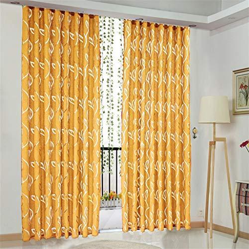 Hunpta @ Romantisch Voile Vorhang mit Ösen Reben Blätter Muster Transparent Gardine Ösenschal Wohnzimmer Schlafzimmer Fenstervorhang Fenster Dekor, 100 x 130cm, 1 Stück