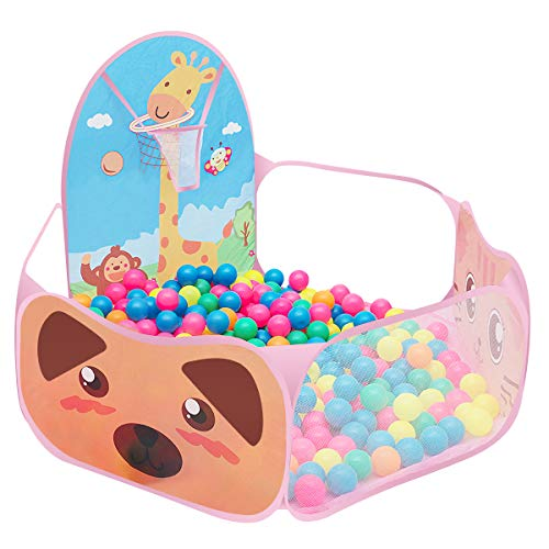 Kids Ball Pit, Pop Up Play Tent, Toddler Folding Cartoon Ball Pool Baby Crawl Playpen Beach Tent Ocean Ball Play Tent with Basketball Hoop - Balls Not Included