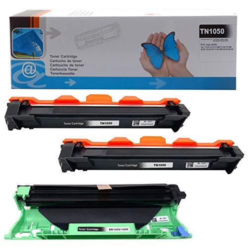 2x Toner + Trommel kompatibel mit Brother TN1050 DCP-1510 1512 1512A 1601 1610W 1612W 1616NW HL-1110 1110R 1112 1201 1210W 1211W 1212W MFC-1810 1815 1910W 1911NW