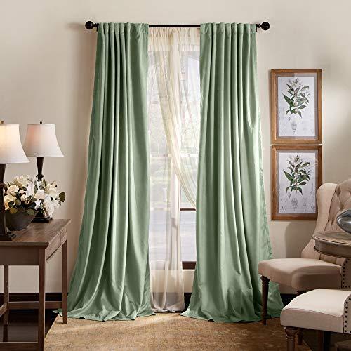 "MARTHA STEWART Lucca Velvet Blackout Back Tab Window Curtain Panel Pair, 84"", Green"