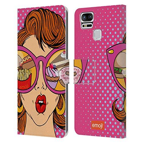 Head Case Designs Licenciado Oficialmente Emoji Comida Arte Pop Carcasa de Cuero Tipo Libro Compatible con Zenfone 3 Zoom ZE553KL