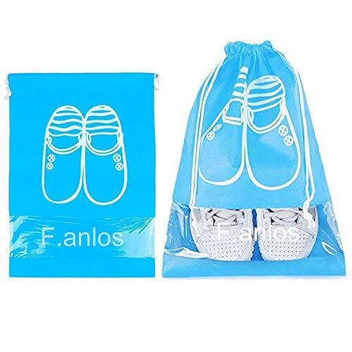 sac chaussures voyage, sac à chaussures, sac a chaussures, Sacs de Voyage Imperméable et Respirante Sacs Organisateurs, 10 sacs à chaussure avec une fenêtre transparente(5 × L/5 × M), bleu ciel