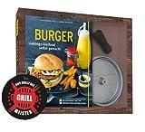Collectix Juego de hamburguesas con prensa de hamburguesas antiadherente de aluminio fundido (libro de bolsillo) y adhesivo para barbacoa (idioma español no garantizado)