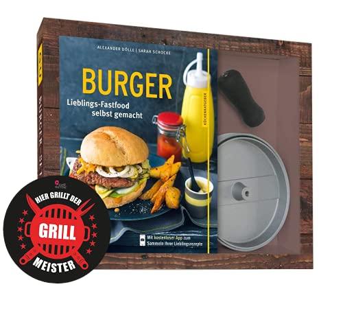 Collectix Set per hamburger con pressa antiaderente in alluminio pressofuso (libro tasca) + adesivo per barbecue, libro di ricette per gli appassionati di hamburger