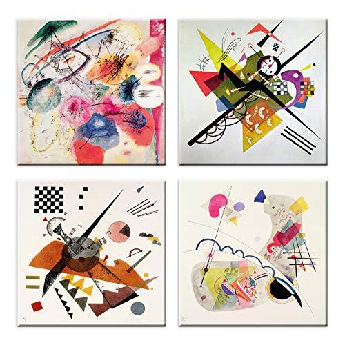 LuxHomeDecor - Cuadros de Kandinsky, 4 unidades de 30 x 30 cm, impresión sobre lienzo con bastidor de madera para decoración