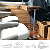 Mesa de Comedor para Autocaravana RV, Mesa Redonda Plegable Rectangular para RV con Dos Ranuras para Tazas, Mobiliario Interior para Autocaravanas, Barcos, Caravanas, Furgonetas, 79 × 39 cm,B