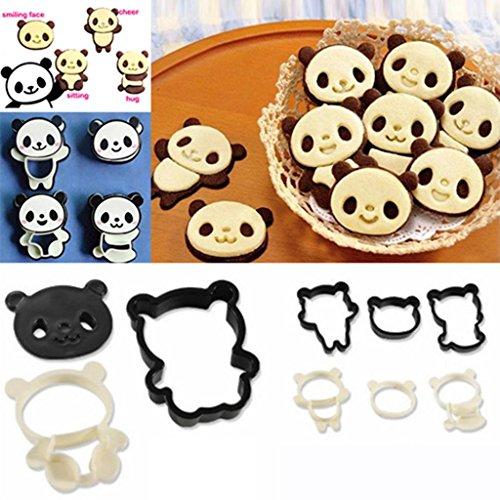 Huayang Partei Heim Frühstück DIY niedlichen Comic Panda Form Kuchen Ausstecher Kunststoff Brot Form Hersteller 4 Arten 1 Satz