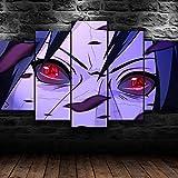 AWER 5 Piezas Imprimir Lienzo de Pintura Anime Itachi Uchiha ojos Cuadro decoración Estilo Piasaje Pintura para Arte de Listo para Colgar en un Marco