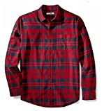 Amazon Essentials Men's Regular-Fit Long-Sleeve Plaid Flannel Shirt, Red Plaid, XX-Large