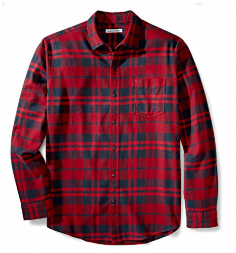 Amazon Essentials Men's Regular-Fit Long-Sleeve Plaid Flannel Shirt, Red Plaid, Large