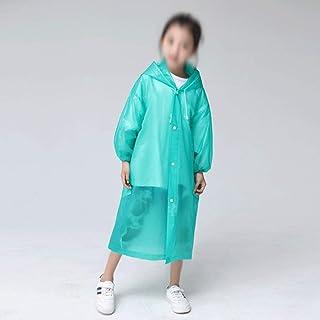 WZHZJ Fashion EVA Children Green Raincoat Thickened Waterproof Rain Coat Kids Clear Transparent Tour Waterproof Rainwear Suit