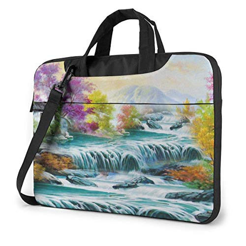 Waterfall Mountain Stream Unisex Laptop Bag Messenger Shoulder Bag for Computer Briefcase Carrying Sleeve