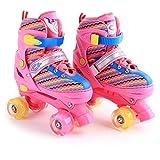 Win-Y Patines Quad, Ajustables estables Roller Skates para niños y niñas Principiantes (Rosa Rojo, S)