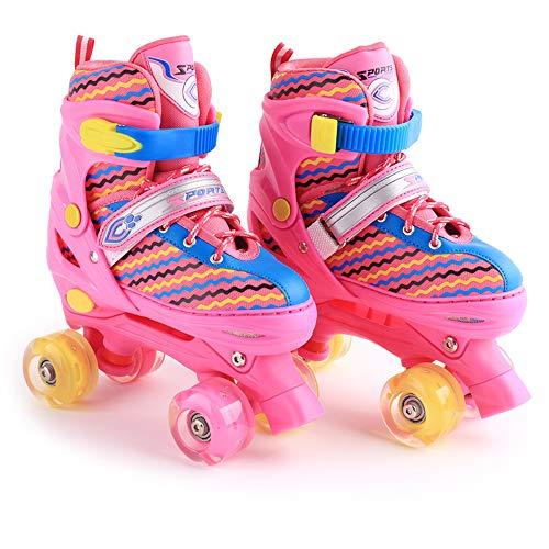 Win-Y Patins à roulettes Roller Quad Enfant réglables pour Enfants et Adolescents, idéal pour Les débutants, Patins à roulettes Confortables pour Les Filles et Les garçons (Rose Rouge, S)