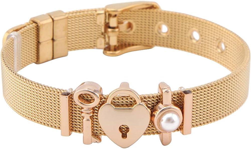 MileHouse Fashion Bangle Bracelet for Women Girls,Lady Mesh Stainless Steel Key Heart Padlock Charm Dress Bracelet Valentines Gift - Golden