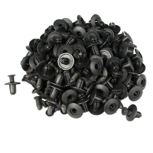 sourcingmap Lot de 100 Fender Fermeture Rivet en plastique pour voiture Noir 8 mm Dia trou