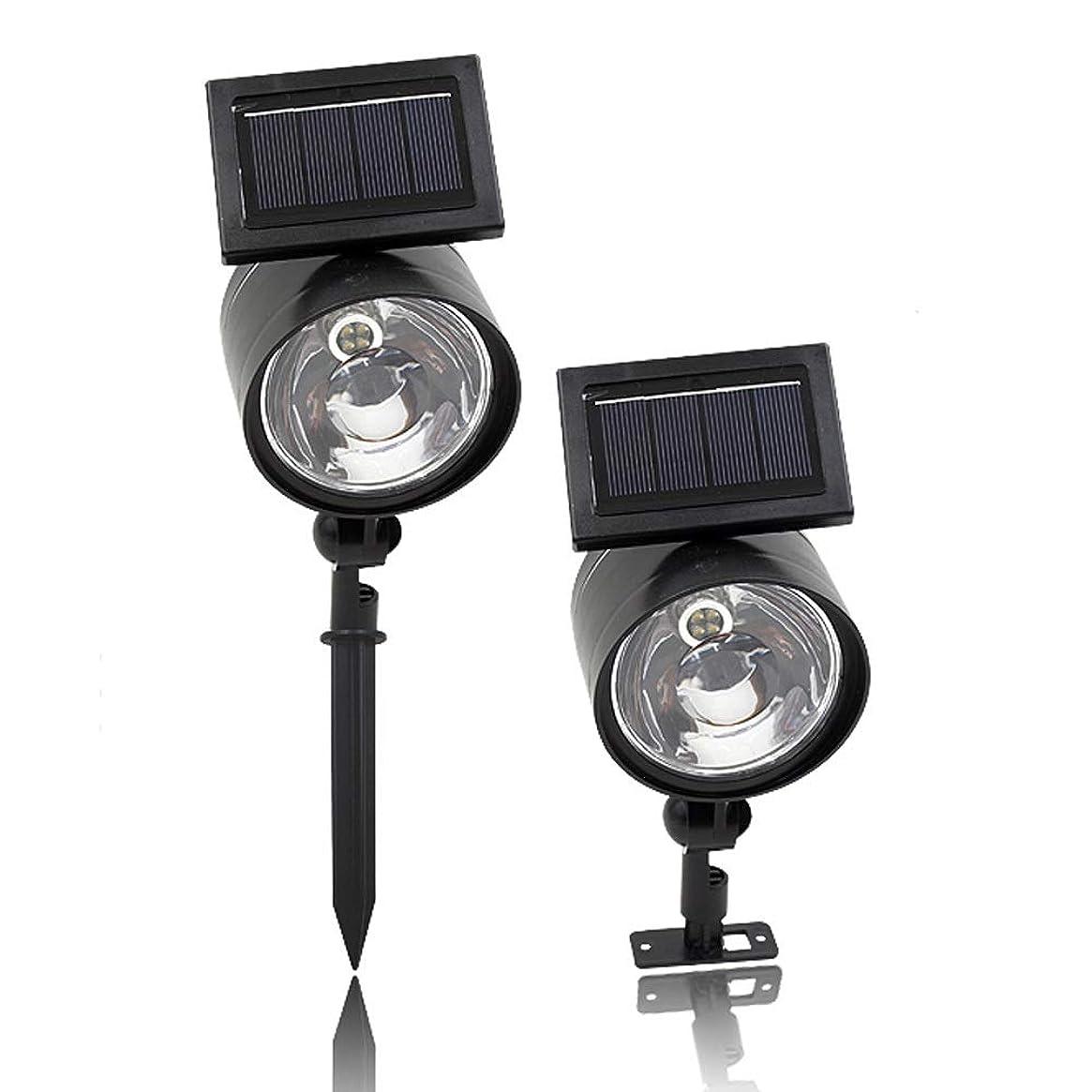 タービン全体に象ZXH 2PCS LEDソーラースポットライト、4 LED屋外防水超高輝度ソーラーガーデンライト、360°ヤードストリート私道のための角度ワイヤレススポットライトを調整します