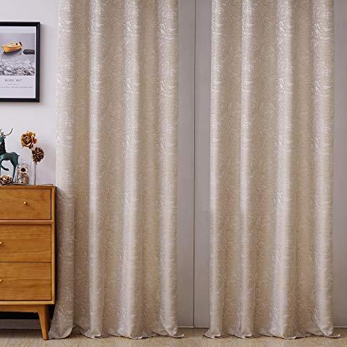 Viste tu hogar Pack 2 Cortina Decorativa Opaca con Jacquard, Moderna y Elegante, para Salón o Habitación, 2 Piezas, 140X260 CM, Diseño Único, Color Beige